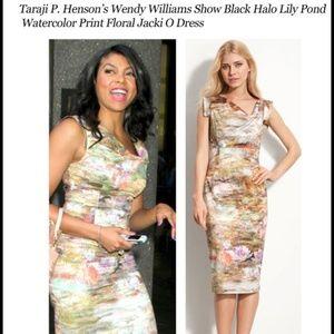 Black Halo Jackie O Dress Sz 6 Lily Pad Watercolor